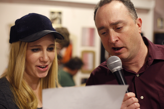 Elysia Silver sings with Director Phrank Diamond at the rehearsal for the band for the Jewish talent show Viva Oy Vegas on Monday, Feb. 13, 2017, at the MarketLV at Tivoli Village in Las Vegas. (R ...