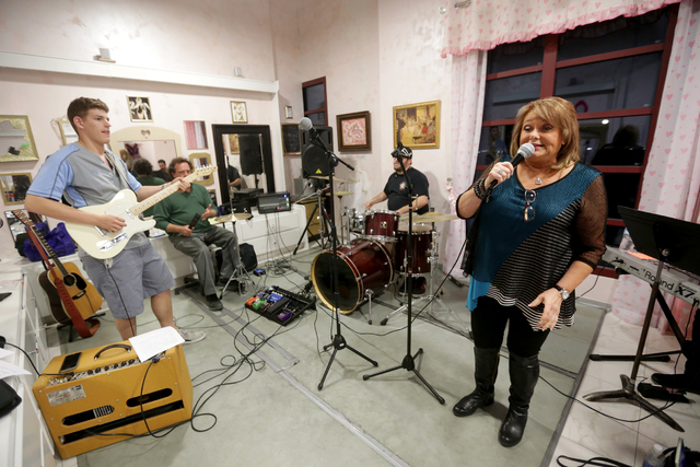 Taylor watchman, from left, Joey Klaparda, Lee Solomon, and Renée Hale rehearse for the band for the Jewish talent show Viva Oy Vegas on Monday, Feb. 13, 2017, at the MarketLV at Tivoli Village i ...