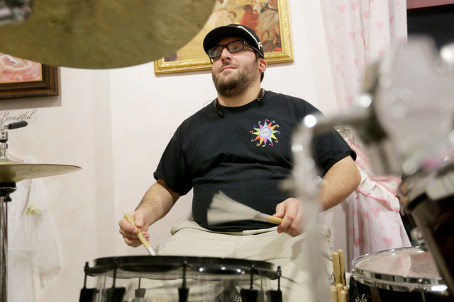 Lee Solomon plays drums at the rehearsal for the band for the Jewish talent show Viva Oy Vegas on Monday, Feb. 13, 2017, at the MarketLV at Tivoli Village in Las Vegas. (Rachel Aston/Las Vegas Rev ...