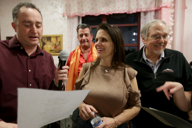Phrank Diamond, from left, Elizabeth Bricker, Brian Volpe, and Irv Weinberger laugh while rehearsing for the band for the Jewish talent show Viva Oy Vegas on Monday, Feb. 13, 2017, at the MarketLV ...
