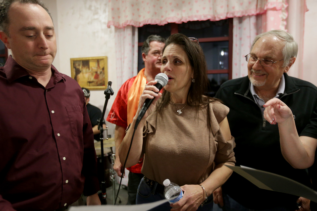 Phrank Diamond, from left, Elizabeth Bricker, Brian Volpe, and Irv Weinberger rehearse for the band for the Jewish talent show Viva Oy Vegas on Monday, Feb. 13, 2017, at the MarketLV at Tivoli Vil ...