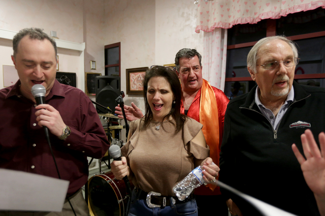 Phrank Diamond, from left, Elizabeth Bricker, Brian Volpe, and Irv Weinberger sing at the rehearsal for the band for the Jewish talent show Viva Oy Vegas on Monday, Feb. 13, 2017, at the MarketLV  ...