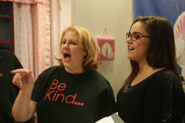 Kate Harris-Golodner sings with Courtney Broadbent-Everard at rehearsal for the band for the Jewish talent show Viva Oy Vegas on Monday, Feb. 13, 2017, at the MarketLV at Tivoli Village in Las Veg ...
