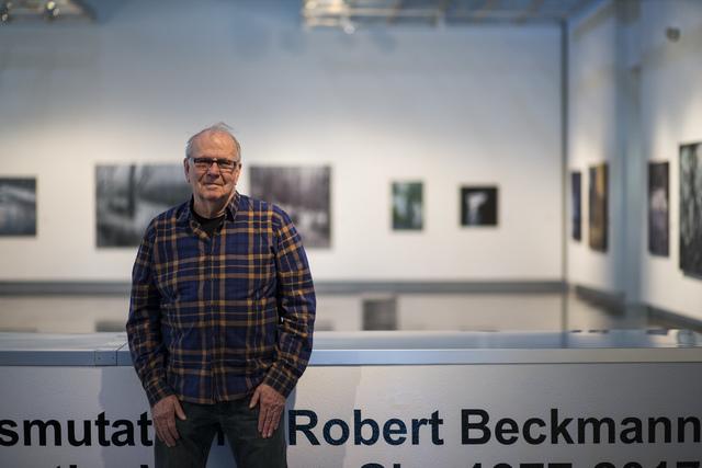 "Artist Robert Beckmann at his exhibition ""Transmutations: Robert Beckmann Under the Western Sky 1977-2017"" at Sahara West Library in Las Vegas on Tuesday, Jan. 31, 2017. (Chase Stevens/Las Vegas R ..."