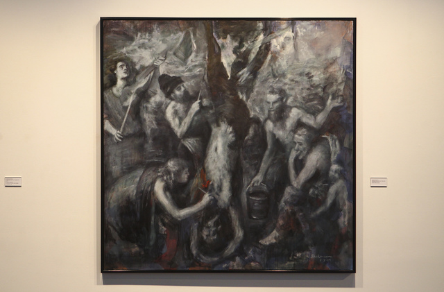 """""""Marsyas"""" by Robert Beckmann during the """"Transmutations: Robert Beckmann Under the Western Sky 1977-2017"""" exhibition at Sahara West Library in Las Vegas on Tues ..."""