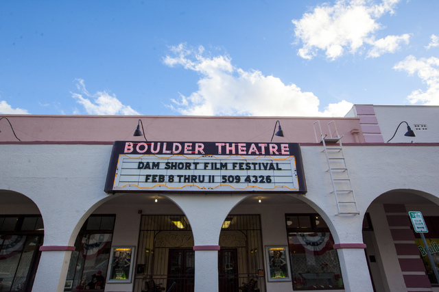 The marquee at the Boulder Theatre in Boulder City on Friday, Feb. 3, 2017. (Miranda Alam/Las Vegas Review-Journal) @miranda_alam