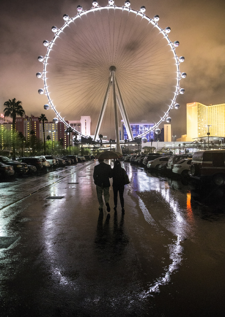 Heavy rains caused flooding in and around the parking lot of The LINQ hotel-casino on Saturday, Feb. 18, 2017, in Las Vegas. (Benjamin Hager/Las Vegas Review-Journal) @benjaminhphoto