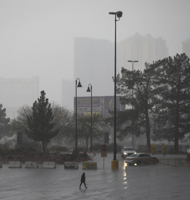 Heavy rains come down at UNLV in Las Vegas on Saturday, Feb. 18, 2017. (Chase Stevens/Las Vegas Review-Journal) @csstevensphoto