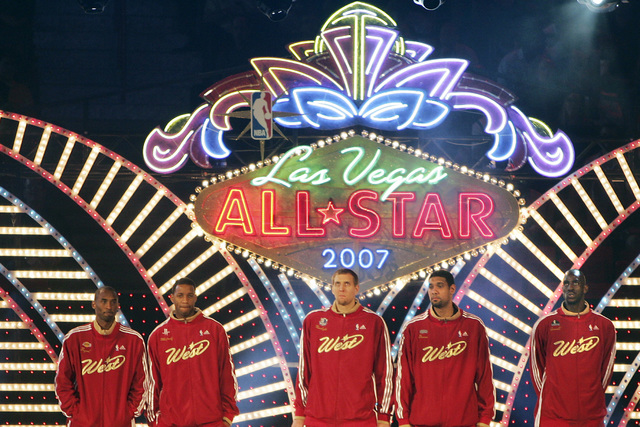 NBA Western Conference starting players are introduced during the All-Star basketball game at the Thomas and Mack Center in Las Vegas on Sunday, Feb. 18, 2007. (John Gurzinski/Las Vegas Review-Jou ...