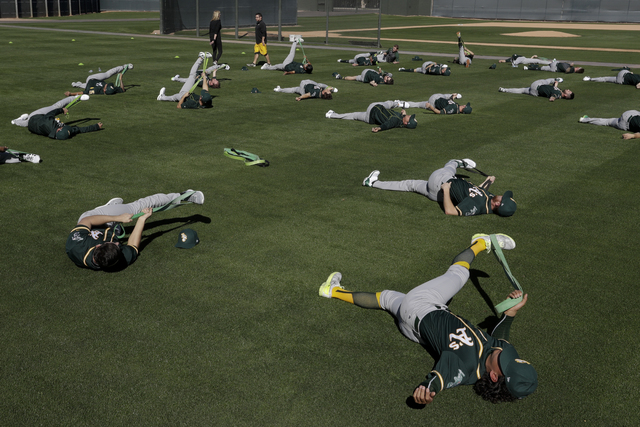 The Oakland Athletics warm up during spring baseball practice in Mesa, Ariz., Thursday, Feb. 16, 2017. (AP Photo/Chris Carlson)