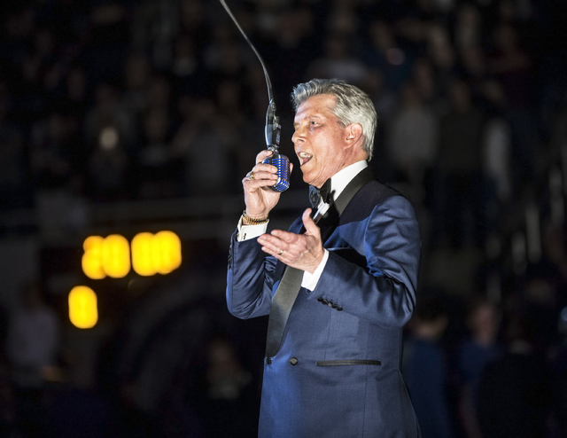 Bruce Buffer makes the official announcements before the start of the UNLV, UNR game on Wednesday, Feb. 8, 2017, at the Lawlor Events Center, in Reno. (Benjamin Hager/Las Vegas Review-Journal) @be ...