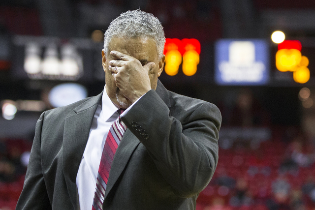 UNLV head coach Marvin Menzies reacts to a foul during the Rebels home matchup with the Air Force Falcons on Saturday, Jan. 21, 2017, at the Thomas & Mack Center, in Las Vegas. Benjamin Hager/ ...
