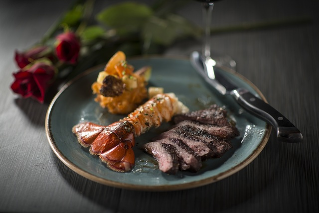 Grilled sirloin and roasted lobster tail, a Valentine's Day special at Trevi at The Forum Shops at Cae (Photo by Peter Harasty)