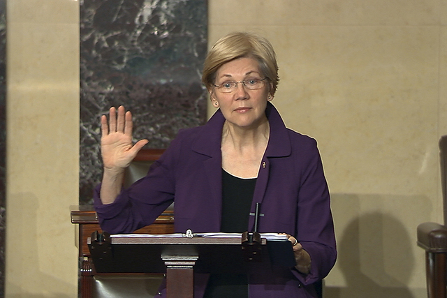 In this image from Senate Television, Sen. Elizabeth Warren, D-Mass., speaks on the floor of the U.S. Senate in Washington, Feb. 6, 2017, about the nomination of Betsy DeVos to be Education Secret ...