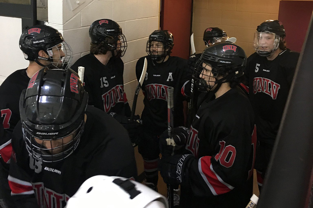 Members of the UNLV hockey team get ready to take the ice at the American Collegiate Hockey Association's Division 2 West Regional in Greeley, Colorado. (@UNLVRebelHockey/Twitter)