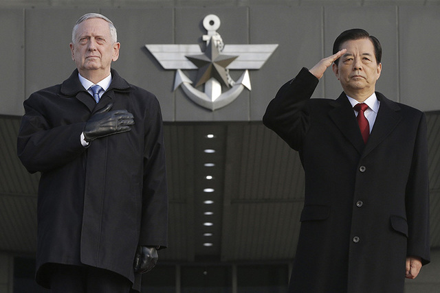 In this Friday, Feb. 3, 2017 photo, U.S. Defense Secretary Jim Mattis, left, and South Korean Defense Minister Han Min Koo salute during a welcome ceremony for Mattis at Defense Ministry in Seoul, ...