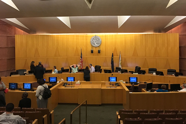 Clark County Commissioners discuss the appointing of two temporary members to the State Assembly, Friday, Sept. 30, 2016, in the Commission Chambers in the County Government Building in Las Vegas. ...