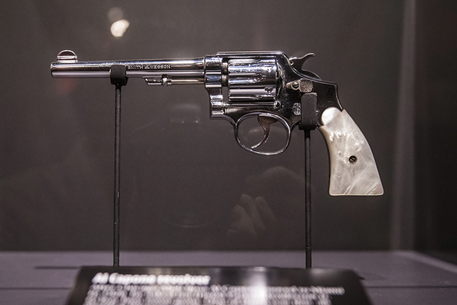 Al Capone's Smith & Wesson .38 on display at the Mob Museum on Friday, Nov. 11, 2016, in Las Vegas. (Benjamin Hager/Las Vegas Review-Journal)