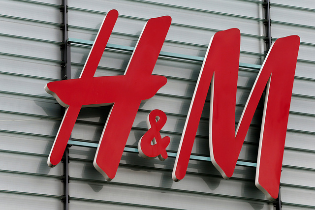 The logo of Swedish fashion retail group H&M is seen at a building in Dietlikon, Switzerland October 11, 2016.  (Arnd Wiegmann/Reuters)