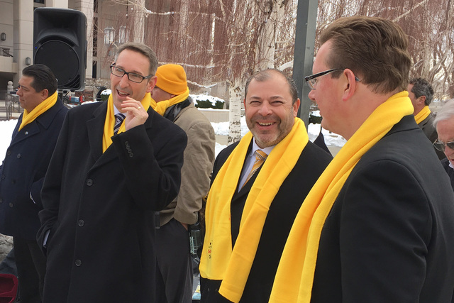 Nevada lawmakers Sen. Scott Hammond, left, Assemblyman Paul Anderson and Sen. Ben Kieckhefer attend the school choice event in Carson City on Wednesday, Jan. 25, 2017. (Sean Whaley/Las Vegas Revie ...