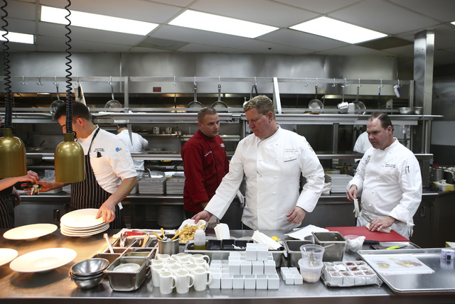 Edge Steakhouse Chef de Cuisine Steve Young, from left, Fresco Chef de Cuisine Michael McNeilly, Westgate Executive Director of Culinary Charles Wilson, and Westgate Executive Pastry Chef Stephen  ...