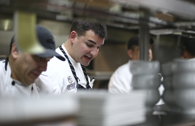 Edge Steakhouse Chef de Cuisine Steve Young cooks food at Edge Steakhouse at the Westgate hotel-casino in Las Vegas on Friday, Jan. 27, 2017. Four chefs from the hotel-casino are slated to prepare ...