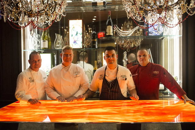 Westgate Executive Pastry Chef Stephen Sullivan, from left, Westgate Executive Director of Culinary Charles Wilson, Edge Steakhouse Chef de Cuisine Steve Young, and Fresco Chef de Cuisine Michael  ...