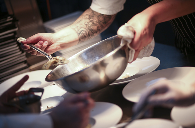 Edge Steakhouse Chef de Cuisine Steve Young dishes out sunchoke agnolotti at Edge Steakhouse at the Westgate hotel-casino in Las Vegas on Friday, Jan. 27, 2017. Four chefs from the hotel-casino ar ...
