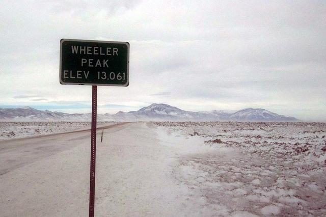 Wheeler Peak rises in the distance along U.S. Highway 93 in a file photo. (Nevada Highway Patrol, Elko)