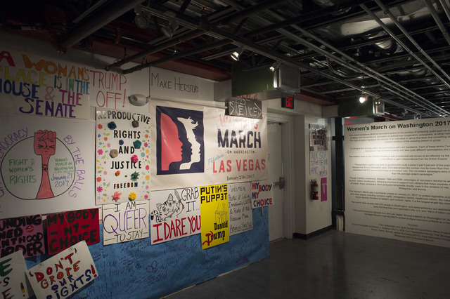 Posters from the Las Vegas Women's March are set on display for an exhibit at the Erotic Heritage Museum in Las Vegas on Thursday, Feb. 2, 2017.  (Bridget Bennett/Las Vegas Review-Journal) @bridgetkb