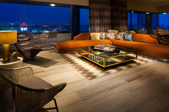 The Wow Suite living room at W Las Vegas. (Courtesy)