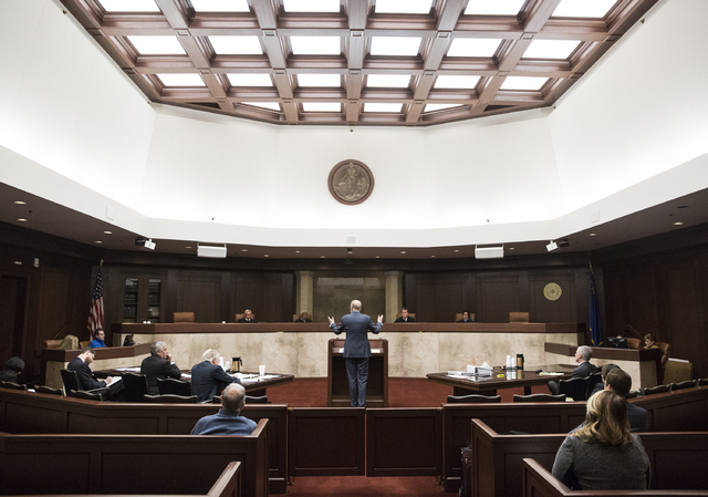 Attorney Todd Bice, representing Wynn Resorts Ltd., argues his case at the Nevada Supreme Court building on Monday, Feb. 6, 2017, in Carson City. Bice was asking the Nevada Supreme Court to overtu ...