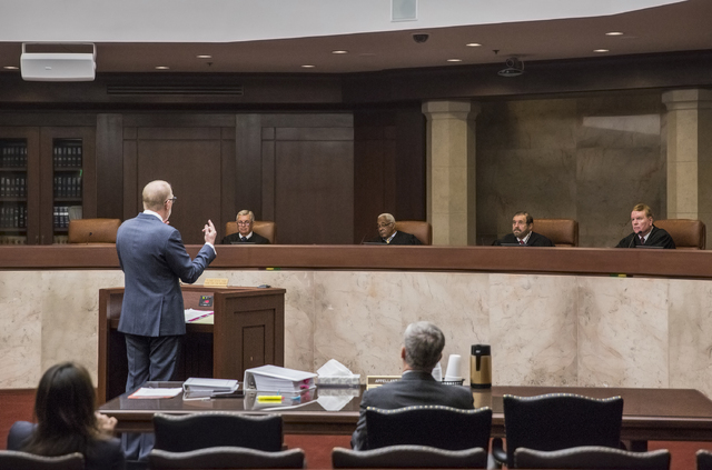 Attorney Todd Bice, representing Wynn Resorts Ltd., argues his case to the justices of the Nevada Supreme Court on Monday, Feb. 6, 2017, in Carson City. Bice was asking the Nevada Supreme Court to ...