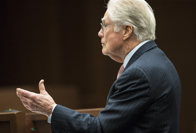 Attorney Steve Morris, representing Japanese billionaire Kazuo Okada, addresses the justices of the Nevada Supreme Court on Monday, Feb. 6, 2017, in Carson City. (Benjamin Hager/Las Vegas Review-J ...