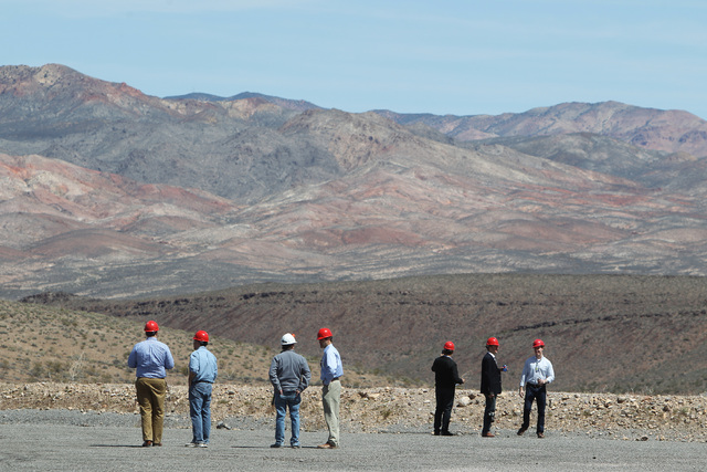 Congressional staff members taken in the view during a congressional tour of the Yucca Mountain exploratory tunnel Thursday, April 9, 2015. (Sam Morris/Las Vegas Review-Journal) @sammorrisRJ