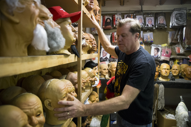 Olaf Stanton, owner of Characters Unlimited, shows various character heads at his company's workshop on Thursday, Feb. 2, 2017, in Boulder City. (Erik Verduzco/Las Vegas Review-Journal) @Erik_Verduzco