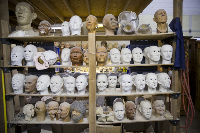 Unfinished character heads at the Characters Unlimited workshop on Thursday, Feb. 2, 2017, in Boulder City. (Erik Verduzco/Las Vegas Review-Journal) @Erik_Verduzco