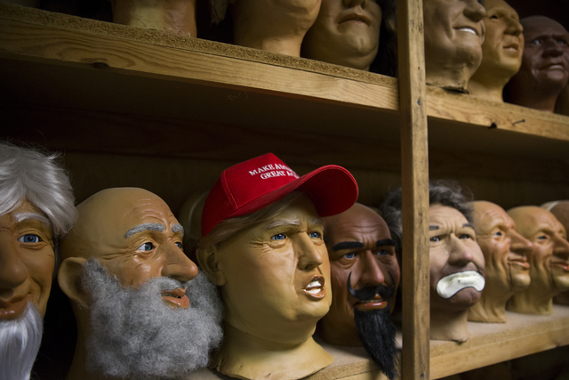 Character heads at various stages to complete and one bearing the likeness of President Donald Trump at the Characters Unlimited workshop on Thursday, Feb. 2, 2017, in Boulder City. (Erik Verduzco ...