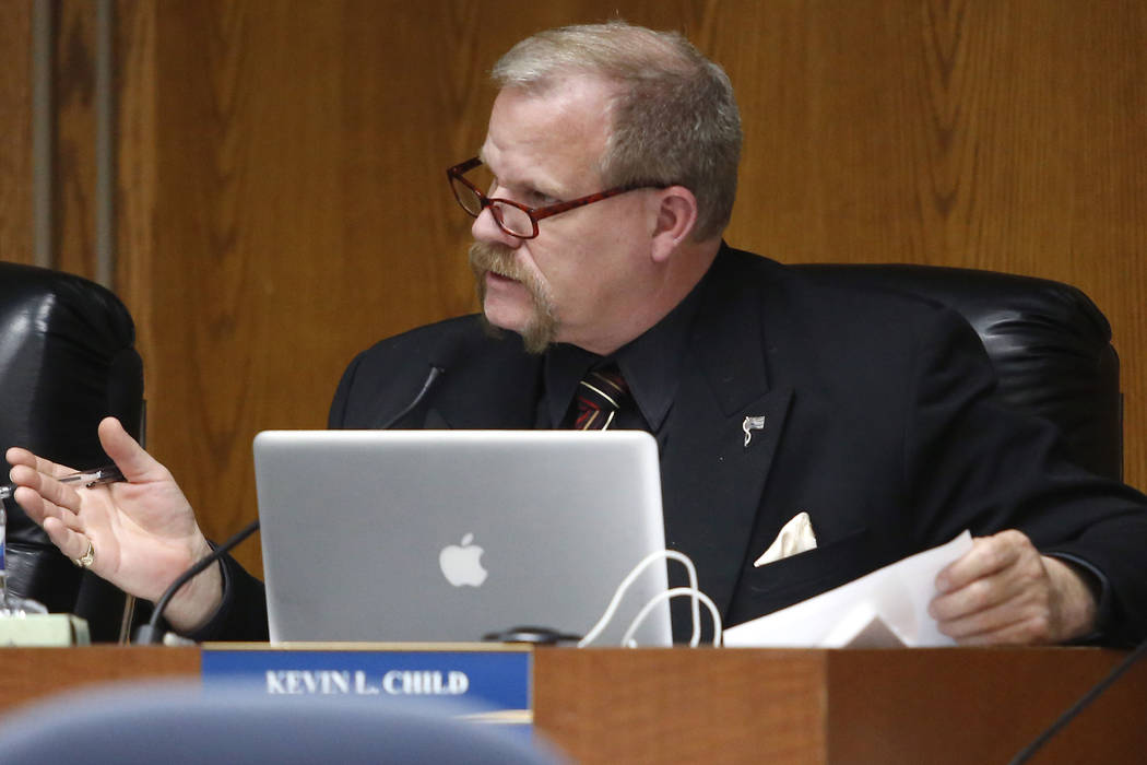 Clark County School Board Trustee Kevin L. Child speaks during a board meeting at the Edward A. Greer Center on Thursday, Feb. 23, 2017, in Las Vegas. (Christian K. Lee/Las Vegas Review-Journal) @ ...