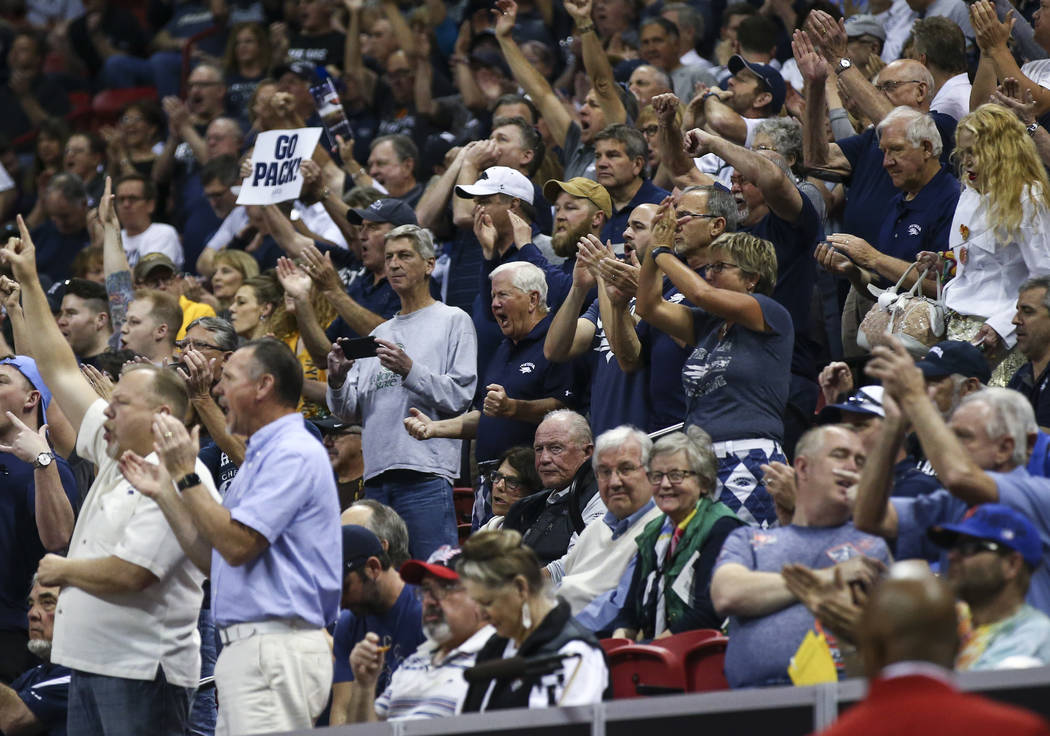 UNR fans cheer before their team takes on Colorado State in the Mountain West Conference basketball championship game at the Thomas & Mack Center in Las Vegas on Saturday, March 11, 2017. (Cha ...
