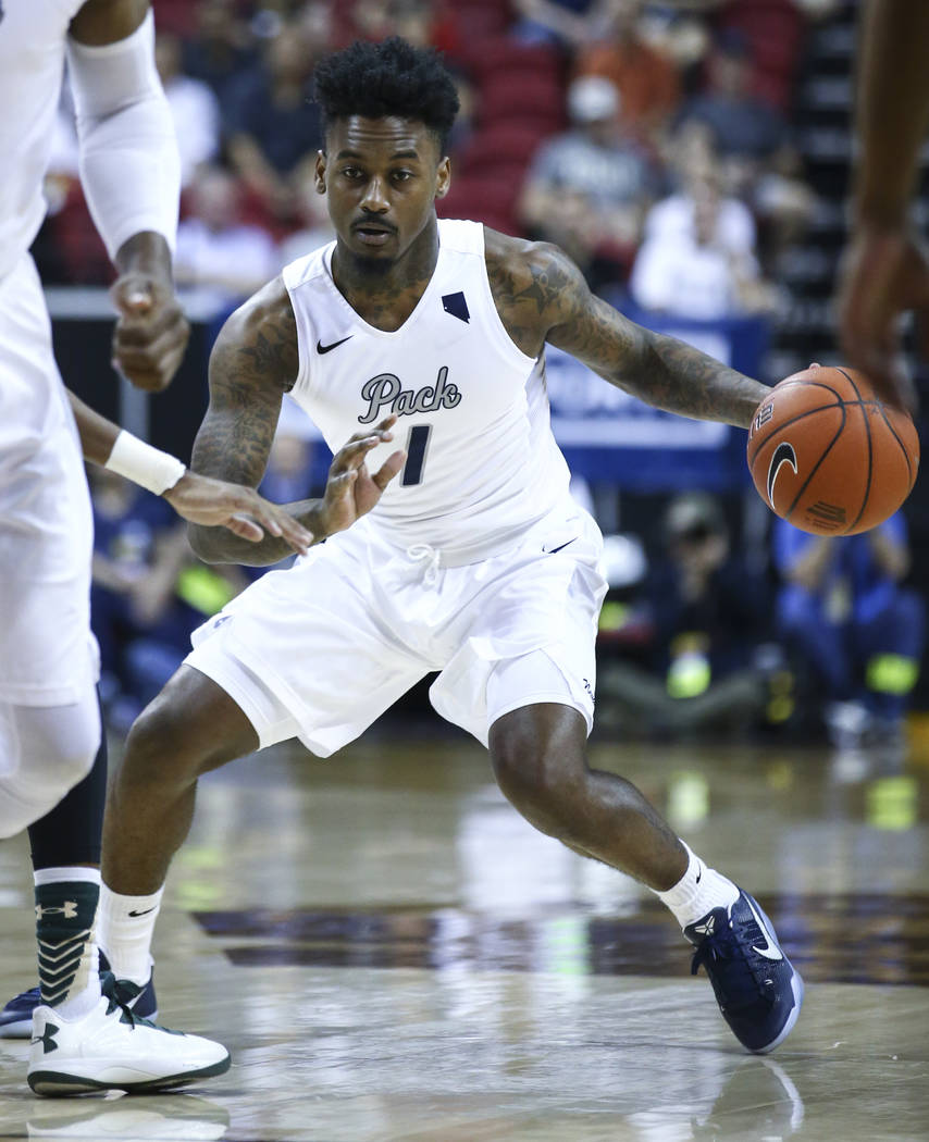 UNR guard Marcus Marshall (1) drives to the basket against Colorado State during the Mountain West Conference basketball championship game at the Thomas & Mack Center in Las Vegas on Saturday, ...
