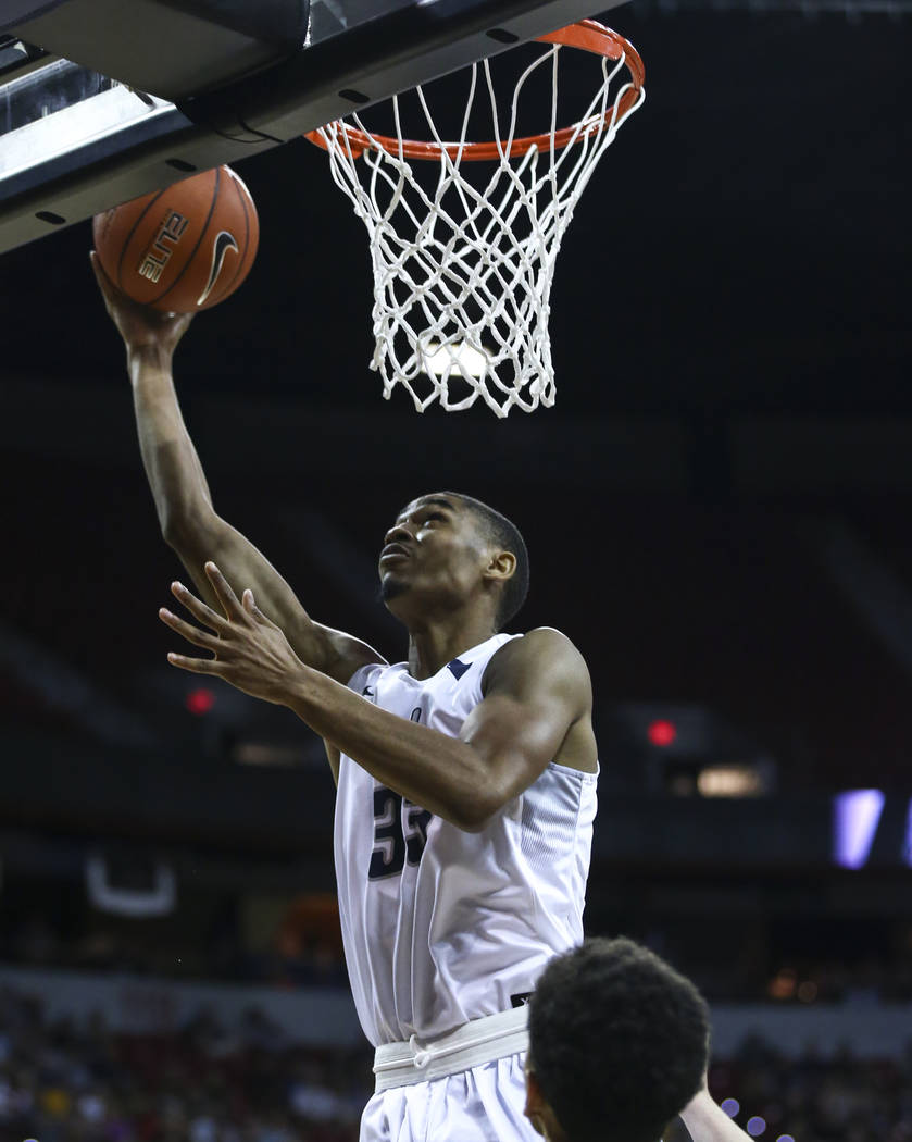 UNR guard Josh Hall (33) goes to the basket against Colorado State during the Mountain West Conference basketball championship game at the Thomas & Mack Center in Las Vegas on Saturday, March  ...