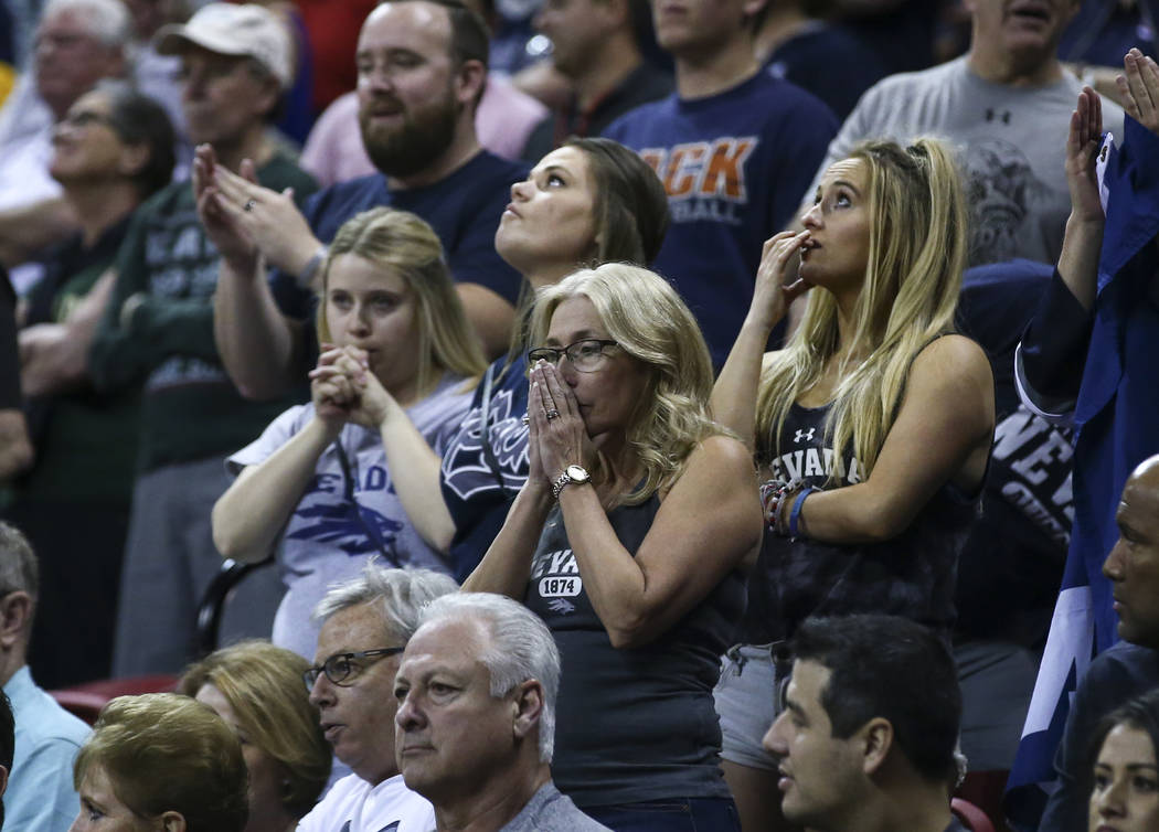 UNR fans react in the final moments of the the Mountain West Conference basketball championship game at the Thomas & Mack Center in Las Vegas on Saturday, March 11, 2017. UNR defeated Colorado ...