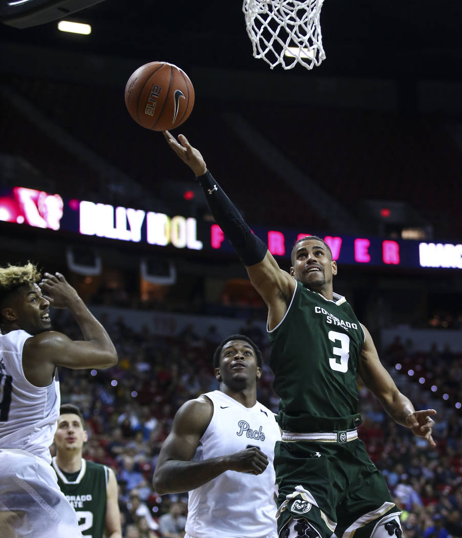 Colorado State guard Gian Clavell (3) goes to the basket against UNR during the Mountain West Conference basketball championship game at the Thomas & Mack Center in Las Vegas on Saturday, Marc ...