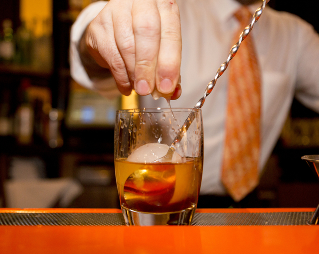 A Wagyu Cocktail, a unique twist of an Old Fashioned made with Japanese whiskey with a treated wash of fine wagyu fat, then stirred with maple and salted caramel, is made at SUSHISAMBA Las Vegas,  ...