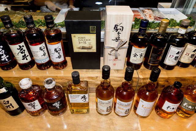 SUSHISAMBA Las Vegas' wide variety of unique Japanese whiskeys is available for purchase at the restaurant located in the Grand Canal Shoppes at The Palazzo, Monday, Feb. 27, 2017.  (Elizabeth Bru ...