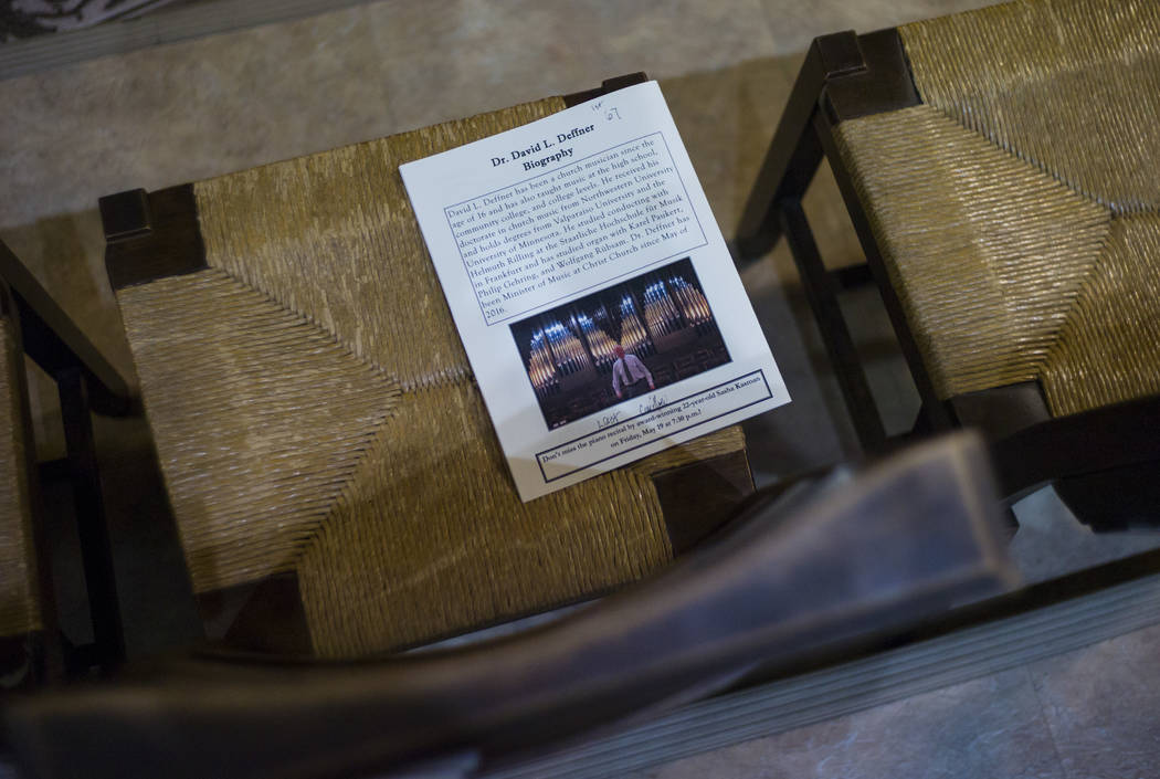 A flyer for the performance as David Deffner plays on the largest organ in Nevada at Christ Church Episcopal in Las Vegas on Friday, March 3, 2017. (Chase Stevens/Las Vegas Review-Journal) @csstev ...