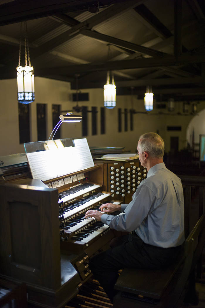 David Deffner performs on the largest organ in Nevada at Christ Church Episcopal in Las Vegas on Friday, March 3, 2017. (Chase Stevens/Las Vegas Review-Journal) @csstevensphoto