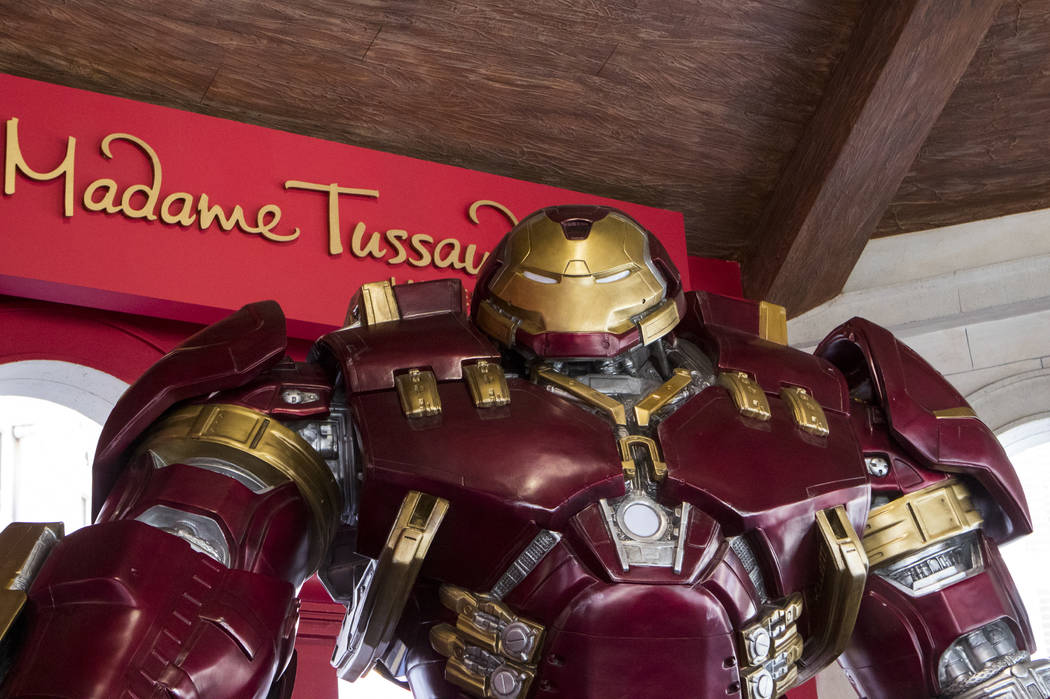 The new Hulkbuster Armor at Madame Tussauds Las Vegas at the Venetian hotel-casino in Las Vegas, Tuesday, Feb. 28, 2017. The armor first appearance in Avengers: Age of Ultron and took approximatel ...