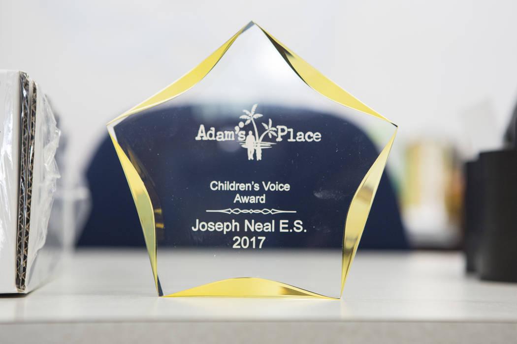 The Adams Place Children's Voice award sits on a desk at Joseph Neal Elementary School on Tuesday, Feb. 28, 2017, in Las Vegas. (Bridget Bennett/Las Vegas Review-Journal) @bridgetkbennett